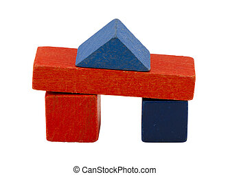 composition wooden vintage log toy brick on white
