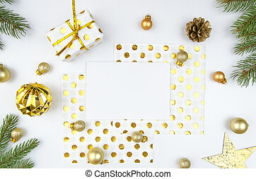 composition., złoty, romantyk, dar, horisontal, drzewo, pieśń, mockup, przestrzeń, boks, płaski, gałęzie, górny, tło., papier, ozdoby, prospekt, biały, kopia, czysty, boże narodzenie