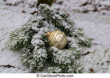 Compositions from a Christmas tree decoration in the winter forest