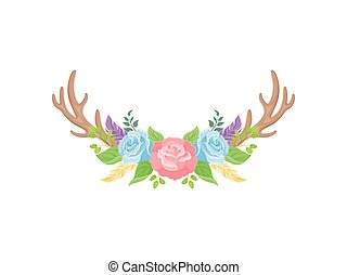 Compositions of pink and blue roses, brown deer horns and green leaves. Vector illustration on white background.