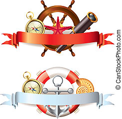 Compositions with marine items and ribbons - Two...