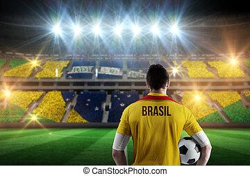 composito, brasil, palla football, presa a terra, giocatore,...