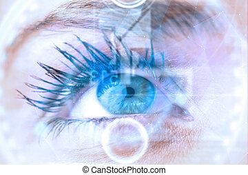 composito, chiudere, femmina, su, blu, immagine, occhio