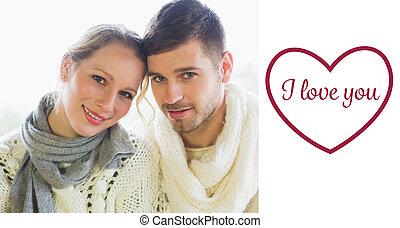 composito, coppia, amare, chiudere, ritratto, su, immagine, winte