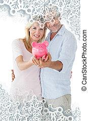 composito, coppia, loro,  piggy, immagine, esposizione, banca, Felice