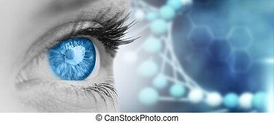 composito, grigio, blu, immagine, occhio, faccia