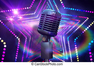 composito, retro, cromo, microfono, immagine