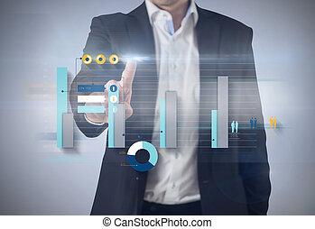 composito, standing, uomo affari, immagine, indicare