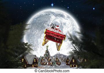 composito, suo, sleigh, santa, immagine, volare