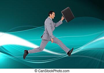 composito, uomo affari, immagine, correndo, valigia
