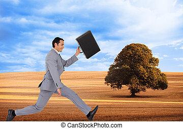 composito, valigia, uomo affari, immagine, correndo