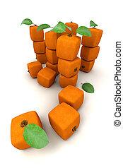 composizione, arance, mucchi, cubico