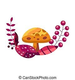 composizione, bello, colors., vettore, autunno parte, bianco, isolato, ghirlanda, mushroom., giallo, illustrazione, fondo., rosso