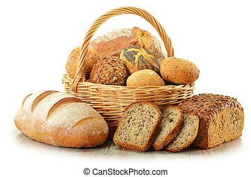 composizione, con, bread, e, in crosta