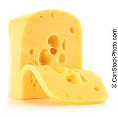 composizione, con, pezzo, di, formaggio, isolato, bianco