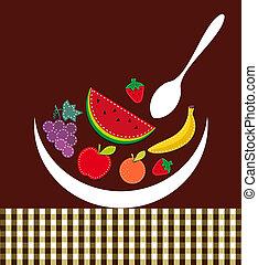 composizione, contemporaneo, illustrazione, frutte
