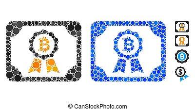 composizione, spheric, certificato, bitcoin, icona, articoli