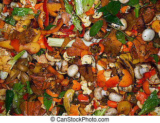 Compost bin content vegetables and fruits