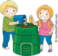 Compost Bin Kids - Illustration of Little Kids Dumping Trash...