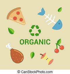 compost., déchets, exemples, biodégradable, waste.