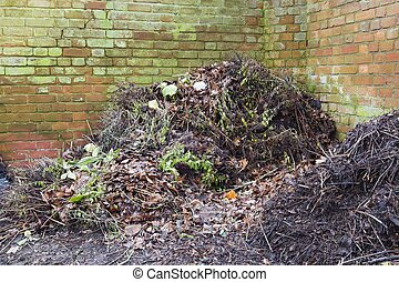 Compost heap or pile in garden