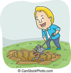 Compost Pit - Illustration of a Man Adding Biodegradable...