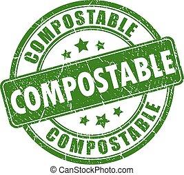 compostable, γραμματόσημο