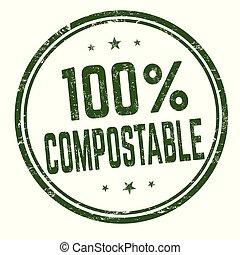 compostable, %, 切手, 印, 100, ∥あるいは∥
