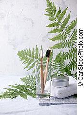compostable, blanc, pot, bambou, bio-degradable, dentifrice,...