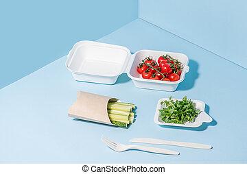 compostable, canne sucre, coutellerie, cornstarch, légume,...