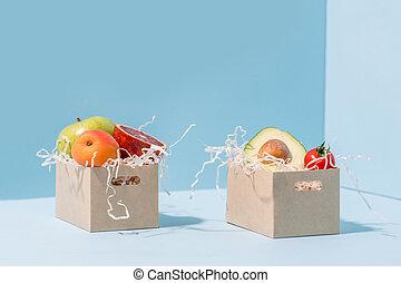 compostable, entiers, légumes, papier, copeaux, fruits,...