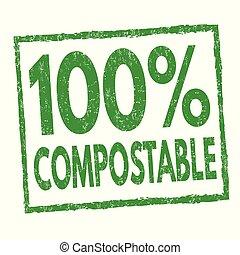 compostable, %, francobollo, segno, 100, o