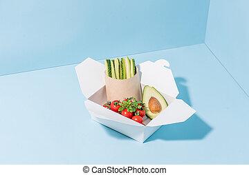 compostable, nourriture, légumes, chaud, papier, frais,...