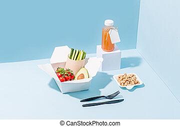 compostable, nourriture, légumes, fou, jus, chaud, papier,...