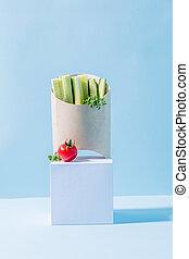 compostable, récipient, nourriture, concombres, chaud,...