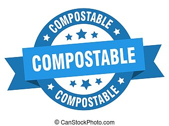 compostable, ruban, label., rond, isolé, signe