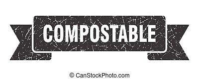 compostable, vendange, grunge, retro, ruban, band.