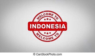 compostage, bois, texte, animation., accueil, signé, timbre, indonésie