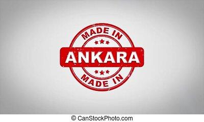 compostage, bois, texte, animation., signé, ankara, timbre, fait