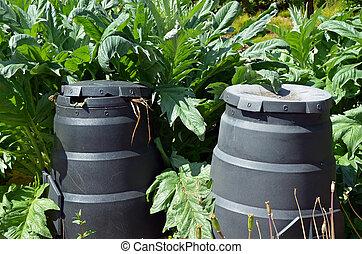 composting, jardín, cajones