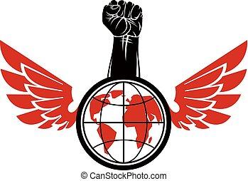 composto, ali, rivoluzione, globe., stretto, concept., elevato, illustrazione, vettore, anticonformista, pugno, terra, condottiero, uccello