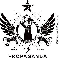 composto, altoparlante, elevato, circondato, agitazione, illustration., persone, globo, prese, politico, apparecchiatura, propaganda, loro, aviatore, vettore, combattimento, sagoma, terra, rights., braccio, corda