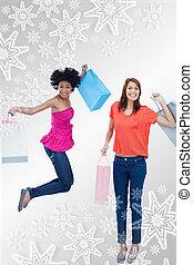 composto, dela, pular, sacolas, menina, shopping, imagem, adolescente