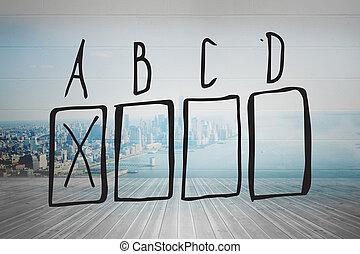 composto, doodle, imagem, múltipla escolha