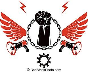 composto, elevato, catena, emblema, pugno, libertà, circondato, stretto, emblem., vettore, anticonformista, ferro, concettuale, forte, ali, loudspeakers.