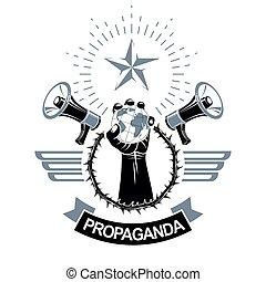 composto, elevato, prese, agitazione, globo, persone, apparecchiatura, terra, braccio, altoparlante, circondato, politico, loro, sagoma, rights., ghirlanda, aviatore, illustration., spina, combattimento, vettore, propaganda
