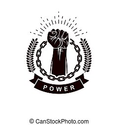 composto, elevato, rivoluzione, astratto, muscolare, pugno, sport, circondato, condottiero, essere, usato, emblema, segno., usando, forte, chain., stretto, vettore, lattina, ferro, squadra, o