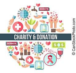 composto, emblema, icone, promo, simbolico, donazione,...