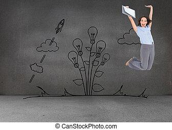 composto, executiva, imagem, pular, enquanto, área de...
