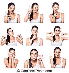 composto, gestos, menina, emoções, positivo